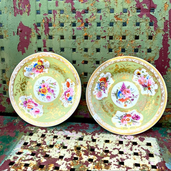 Vintage Set of Two (2) Green Gold Floral Plates